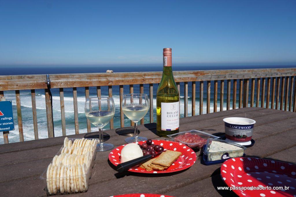 Nosso almoço com a vista maravilhosa do Robberg!