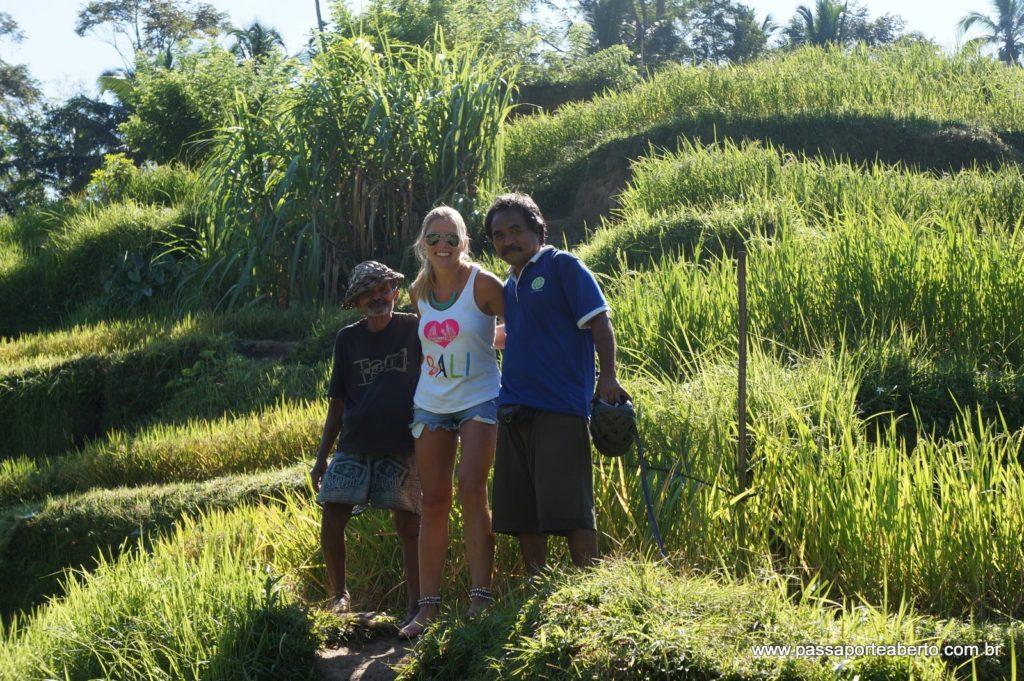 Nas plantações de arroz em Bali
