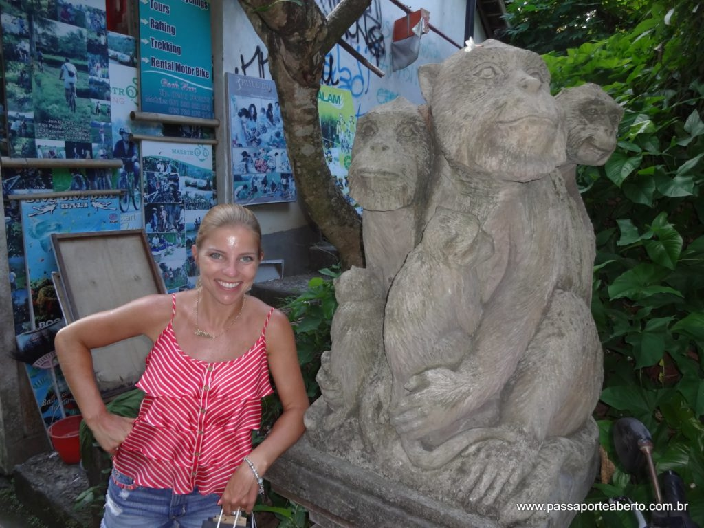 Estátuas de macacos por todos os lados!